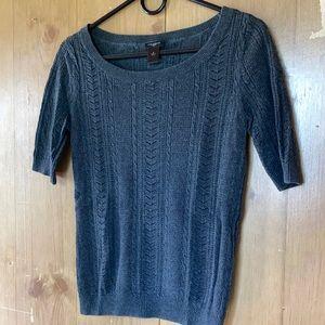 Ann Taylor Cotton Knit Top, Gray, Size S